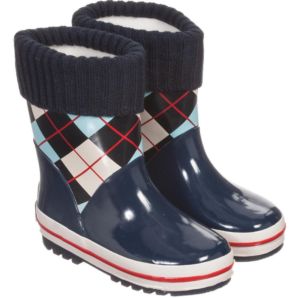 Playshoes - Boys Blue Fleece Lined Rain Boot | Childrensalon