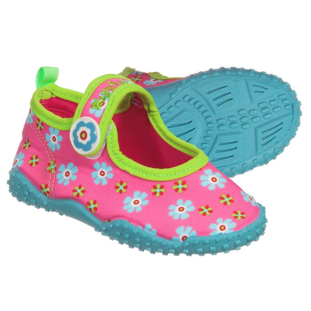 Playshoes - Girls Pink Floral Aqua Shoes | Childrensalon