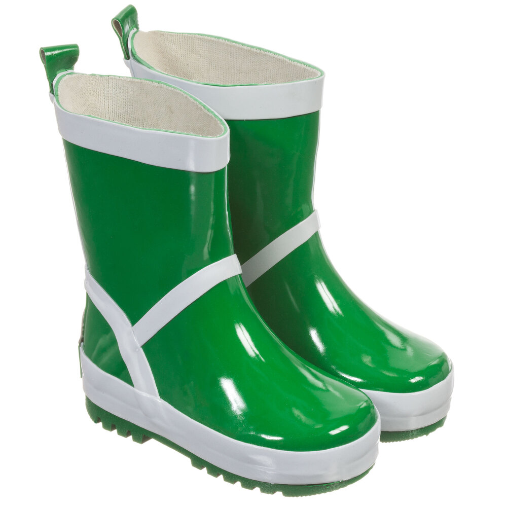 Playshoes - Green & Silver Reflective Rain Boots | Childrensalon