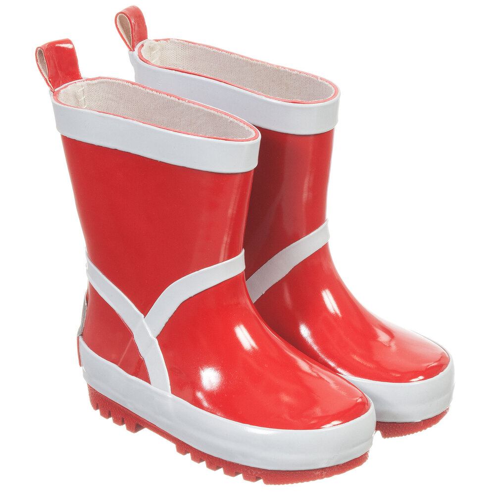 Playshoes - Red & Silver Reflective Rain Boots | Childrensalon
