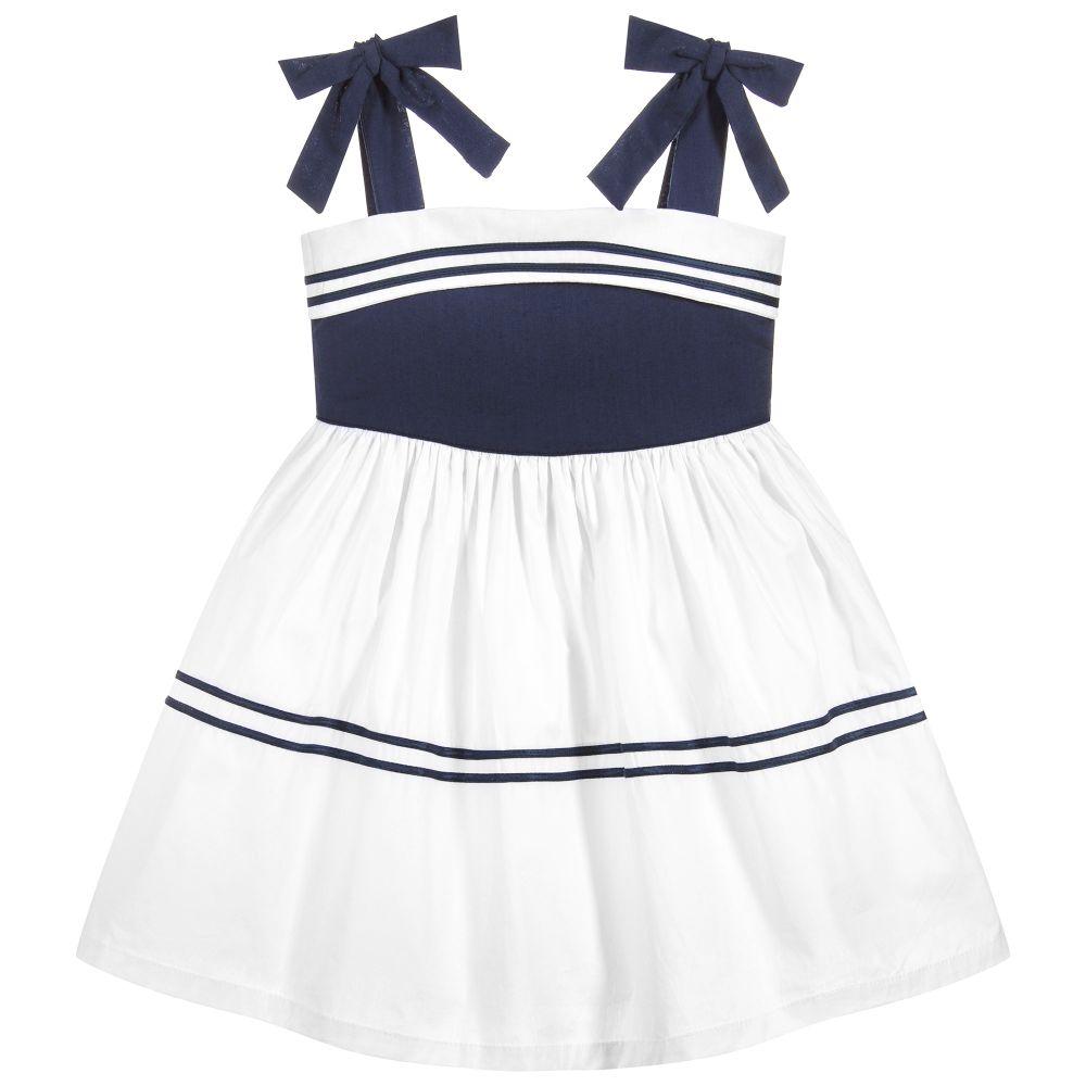 bafb6fba Powell Craft - Girls Navy Blue & White Dress | Childrensalon