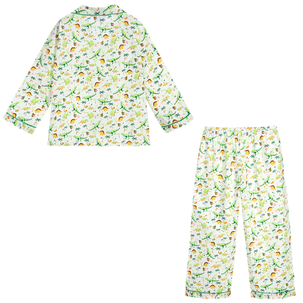 Powell Craft Big Boys Cotton Dinosaur Pajamas.Green