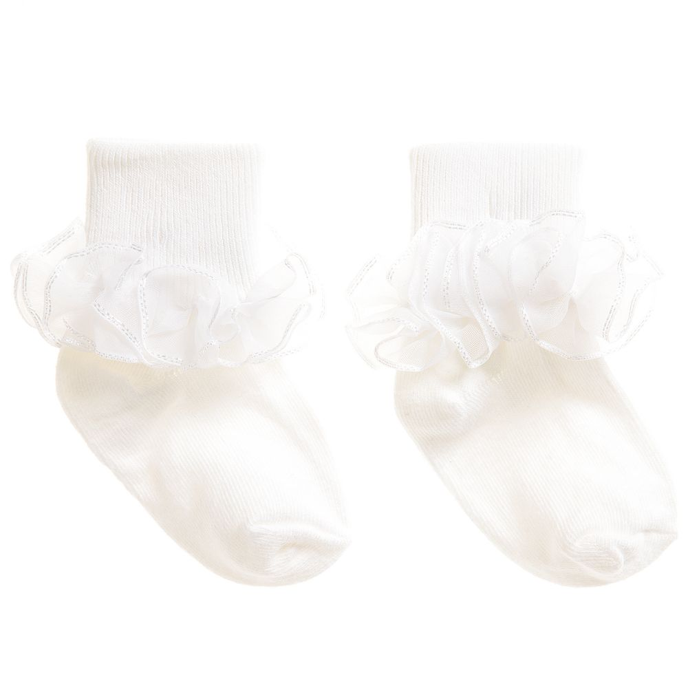 Pretty Originals - Girls White Socks with Ruffle | Childrensalon