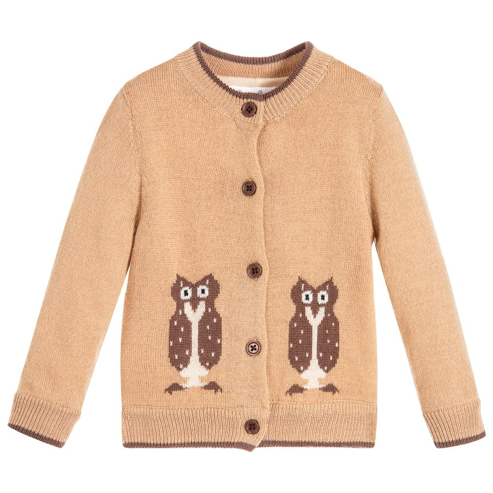 Rachel Riley - Brown Owl Knitted Cardigan | Childrensalon