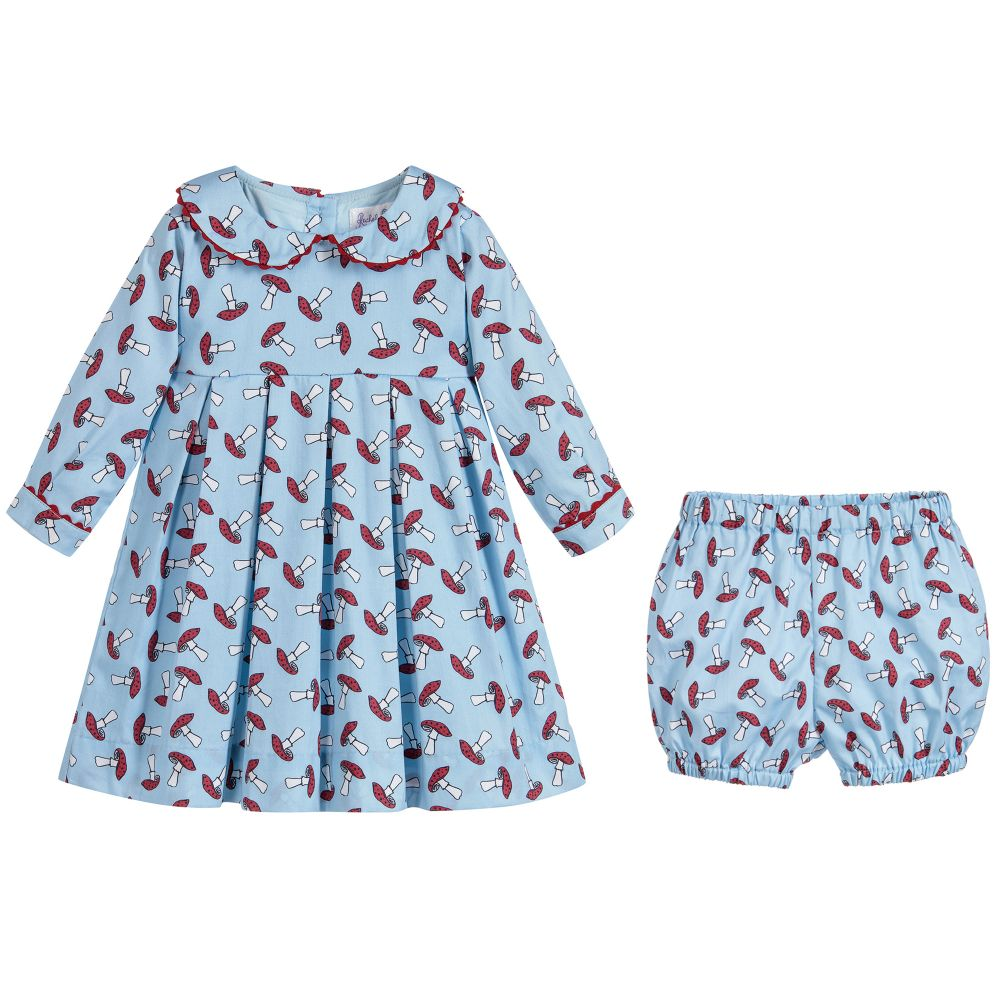 021f49330 Rachel Riley - Girls Blue Cotton Dress Set | Childrensalon