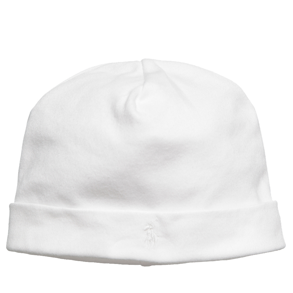 Ralph Lauren - Baby White Cotton Hat  | Childrensalon