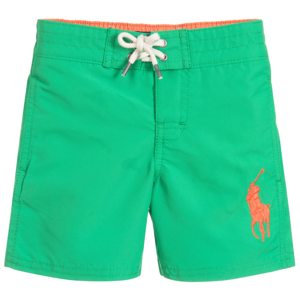 90abe5131433b Polo Ralph Lauren - Boys Green Logo Swim Shorts | Childrensalon