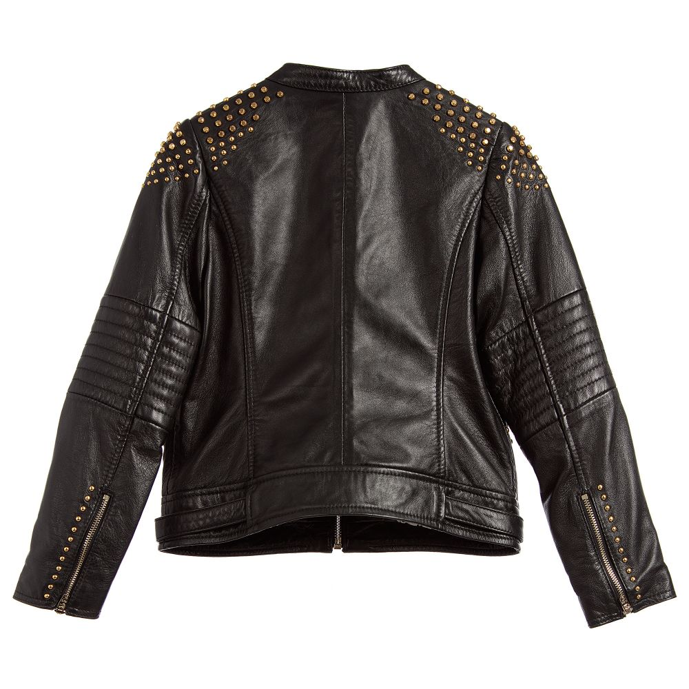 Girls black leather jacket