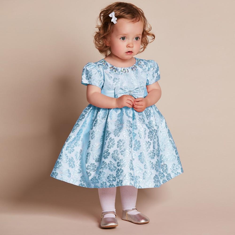 Romano Princess - Baby Girls Blue Brocade Dress with ...