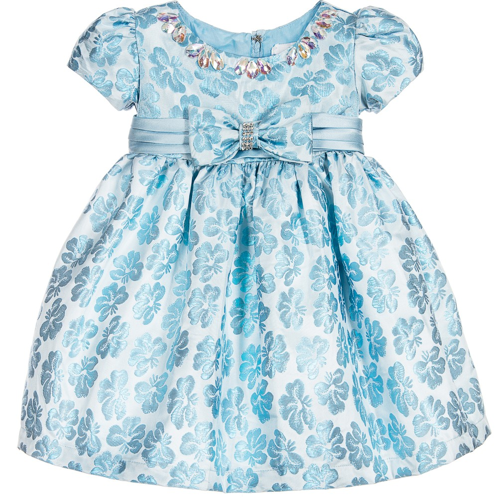 Romano Princess - Baby Girls Blue Brocade Dress with Diamanté | Childrensalon