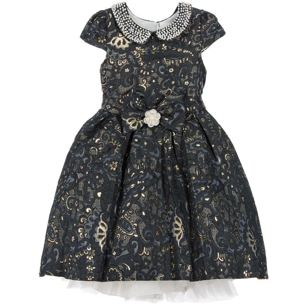 3bce3605510c Romano Princess - Blue   Gold Brocade Dress