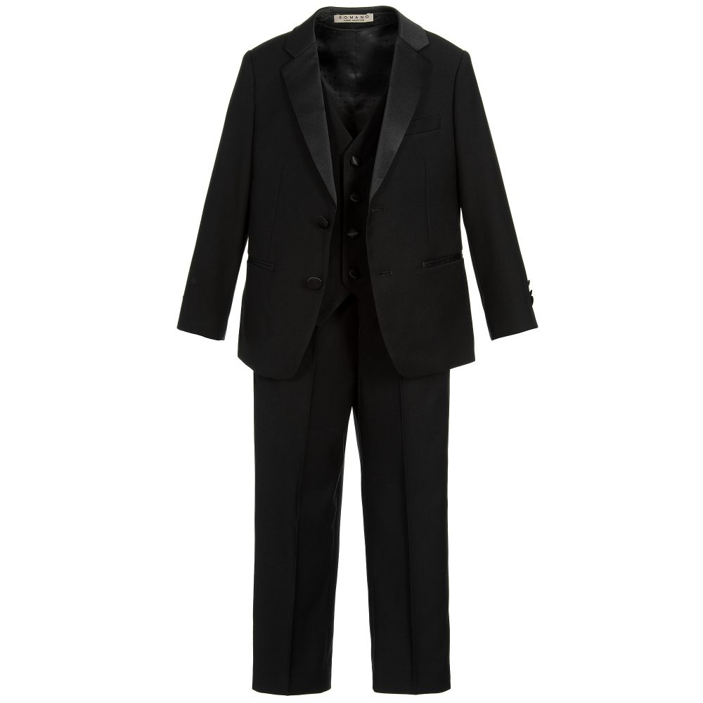 Romano - Boys Black 3 Piece Special Occasion Suit | Childrensalon