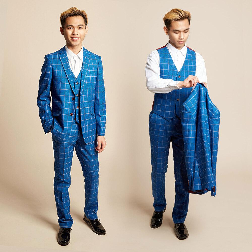 Romano Boys Blue Check 3 Piece Suit