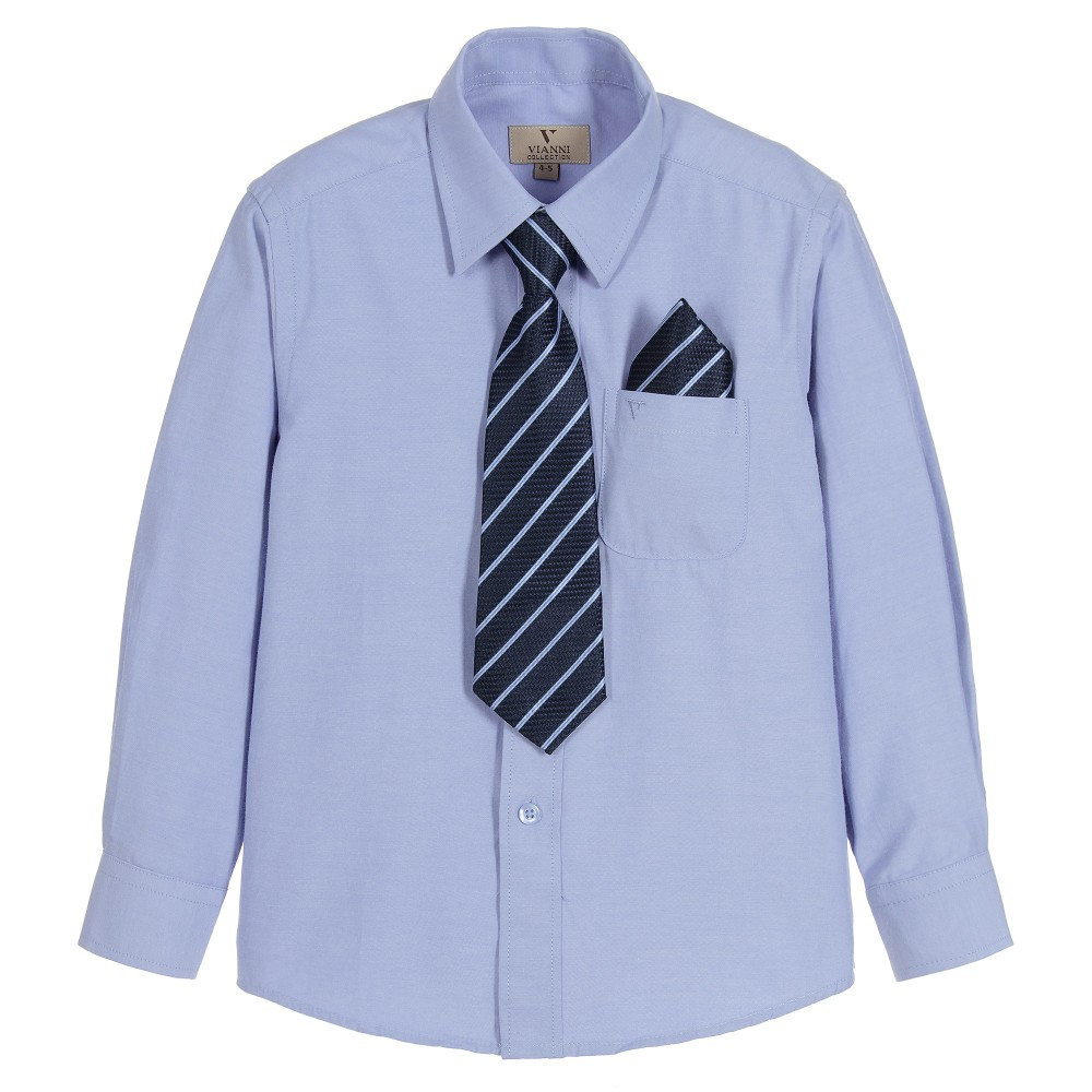 Romano Boys Blue Shirt Pocket Square Amp Tie Childrensalon