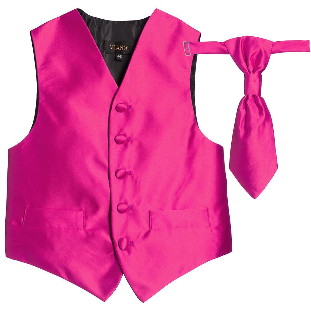 Romano Vianni - Boys Dark Pink Waistcoat & Adjustable Tie Set | Childrensalon