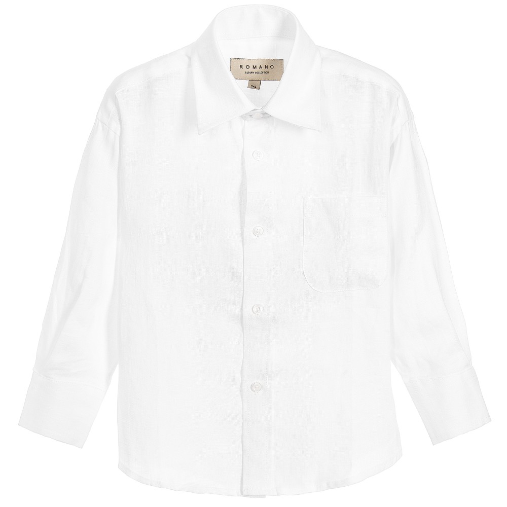 Romano - Boys White Linen Shirt | Childrensalon