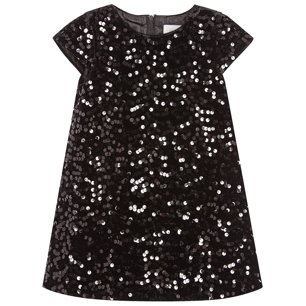 5b47737681e2 Romano Princess - Girls Black Sequined Velvet Dress