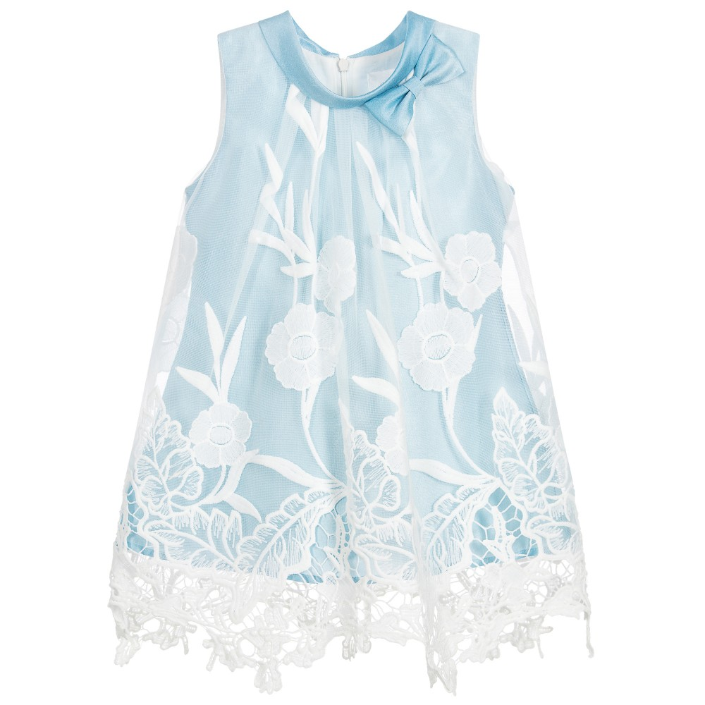 22f3689f9150 Romano Princess - Girls Blue   White Lace Dress