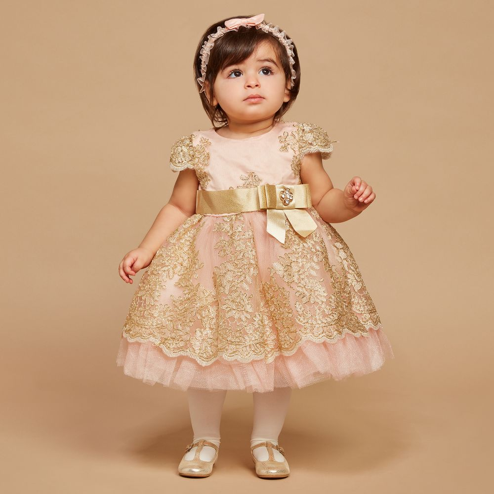Romano Princess Pink Gold Lace Dress Set