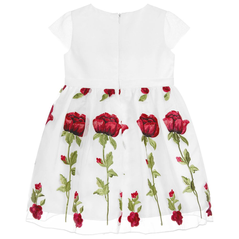 a8b3eb112d Romano Princess - White Organza Red Rose Dress