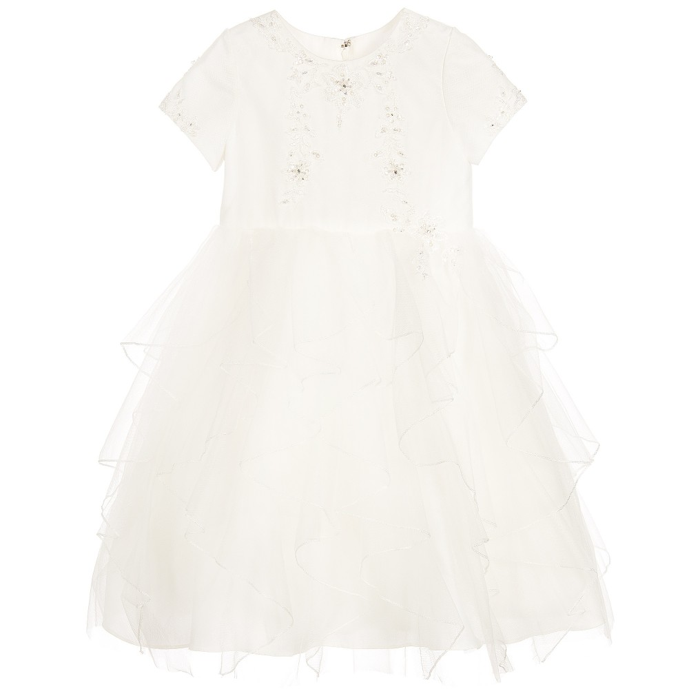 Sarah Louise - Baby Girls Ivory Floral Embroidered Dress | Childrensalon