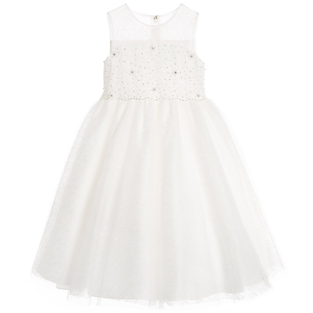 Sarah Louise - Girls Ivory Embellished Tulle Dress   Childrensalon