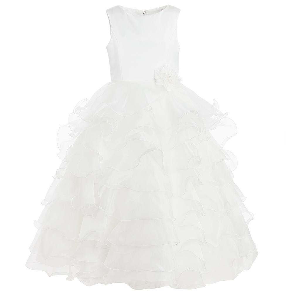 53198756e Sarah Louise - Girls Long Ivory Ruffle Dress