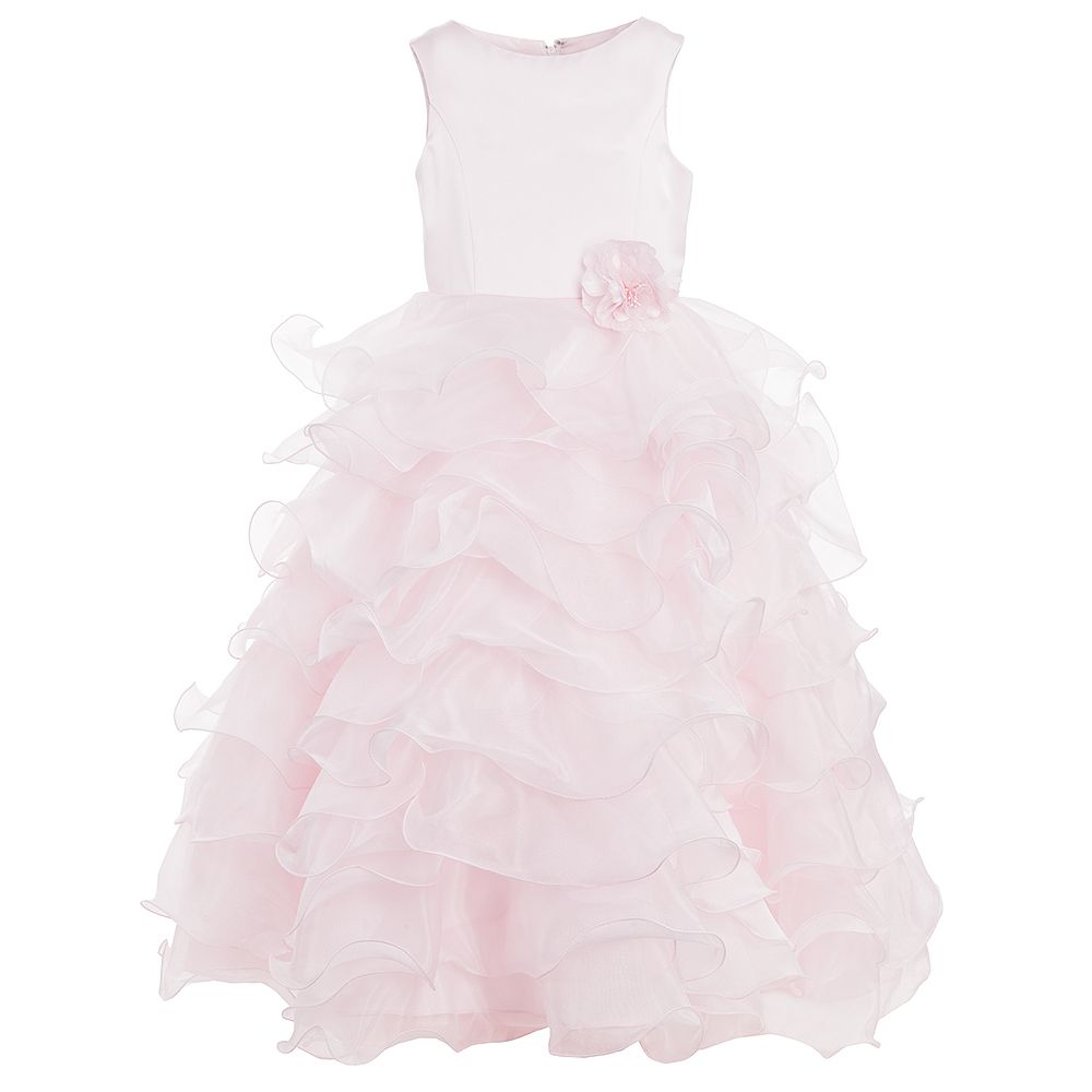 5a8e112e2ff7 Sarah Louise - Girls Long Pink Ruffle Dress