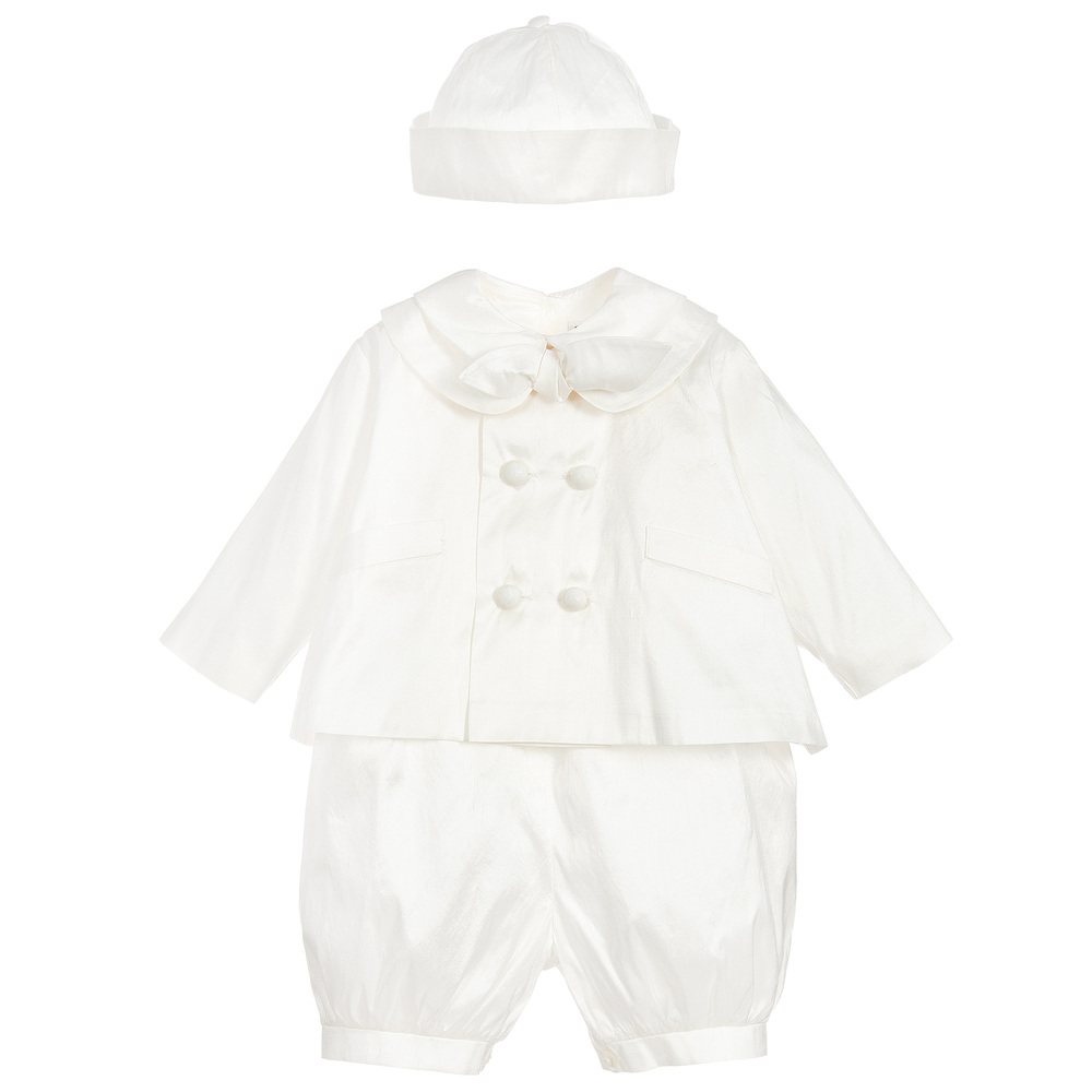 Sarah Louise - Ivory Silk 3 Piece Baby Suit  | Childrensalon