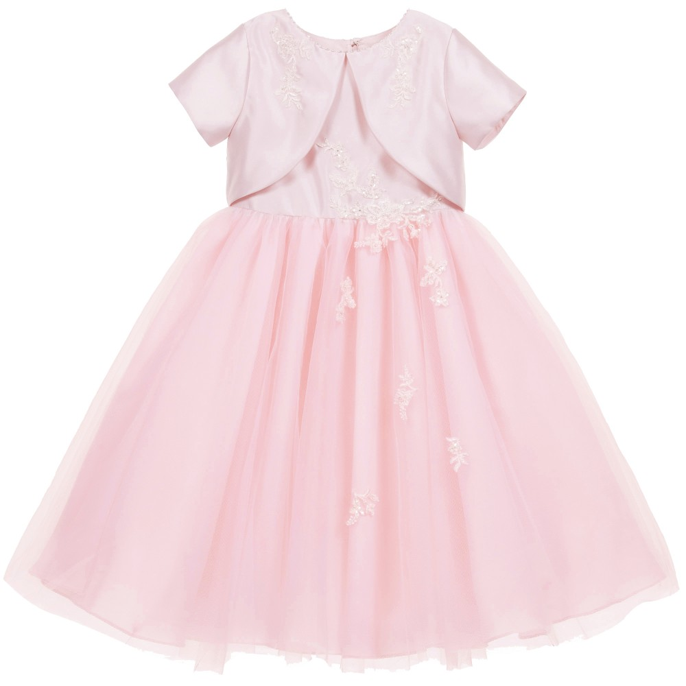 Sarah Louise - Pink Satin & Tulle Dress with Attached Bolero | Childrensalon