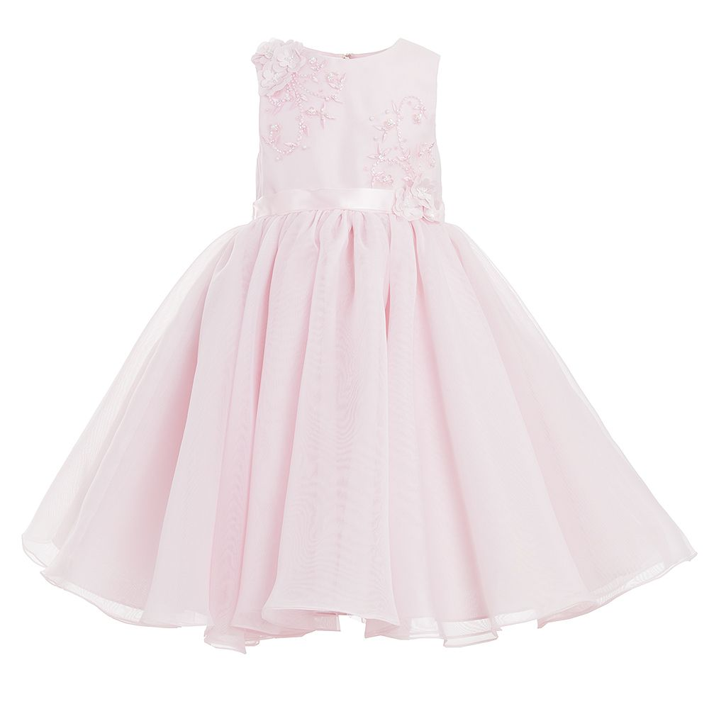 Sarah Louise - Pink Tulle Beaded Occasion Dress | Childrensalon