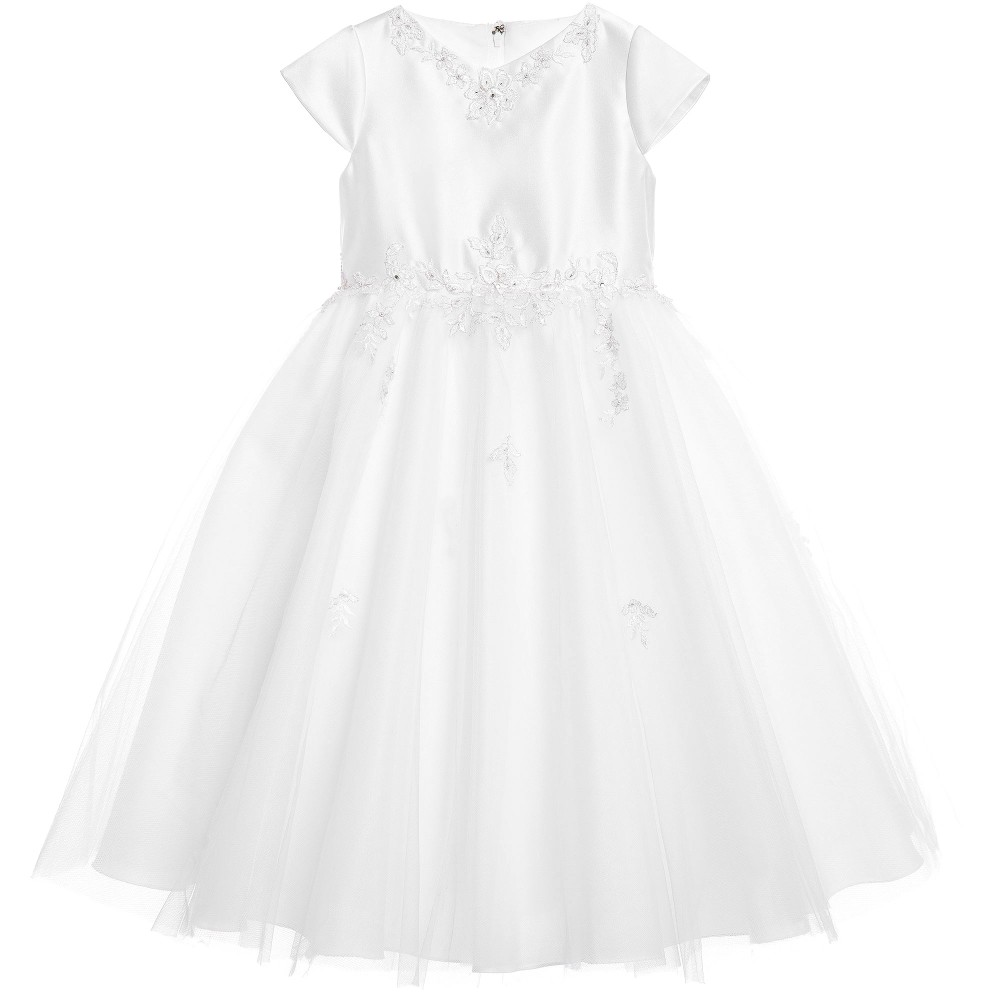 Sarah Louise - White Floral Embroidered Satin & Tulle Dress | Childrensalon