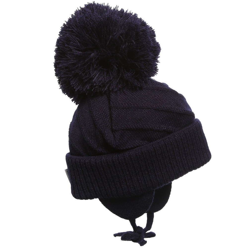 9f3e1000b4026d Sätila of Sweden - Navy Blue Knitted Giant Pom-Pom Hat | Childrensalon