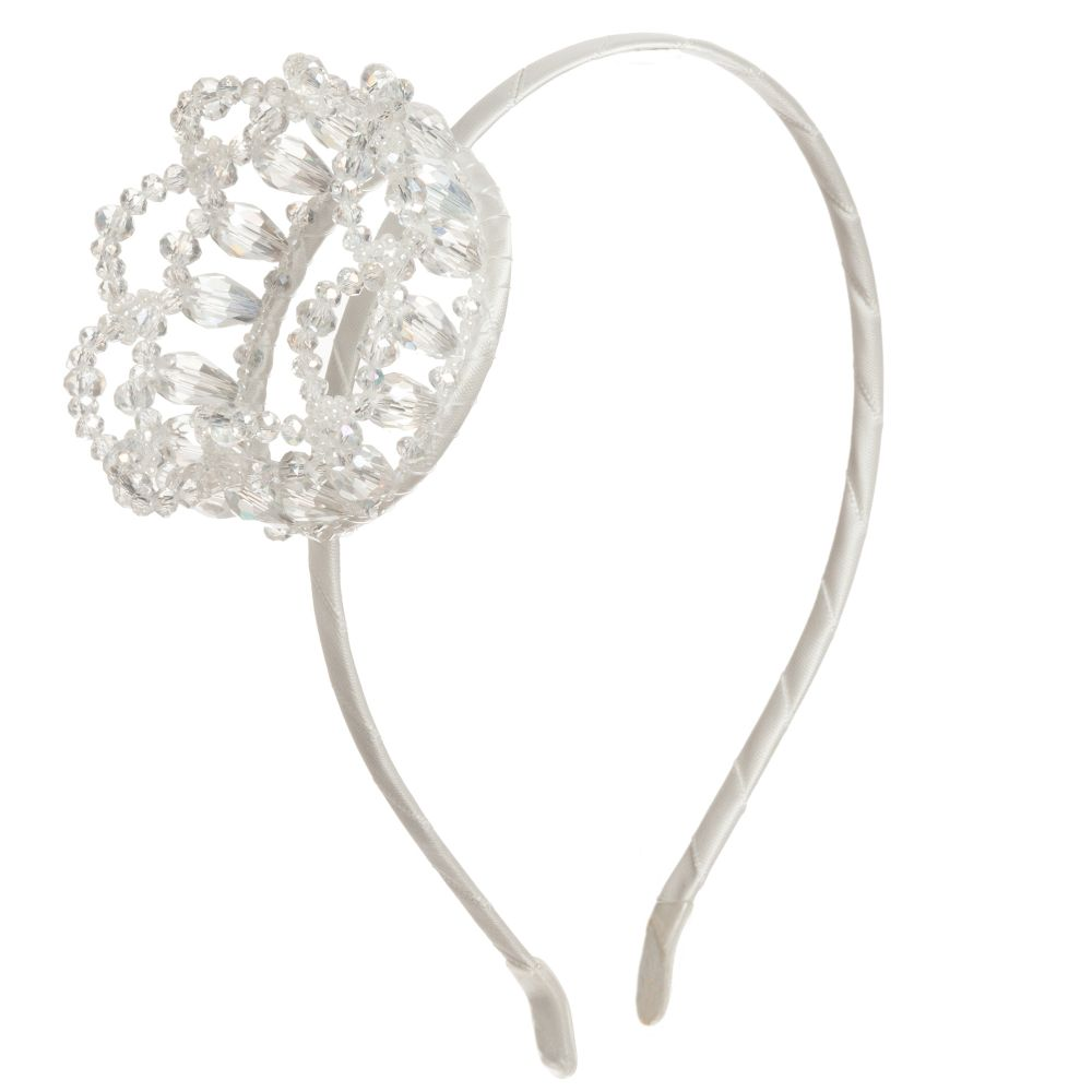 Sienna likes to party - Girls White Crown Hairband | Childrensalon