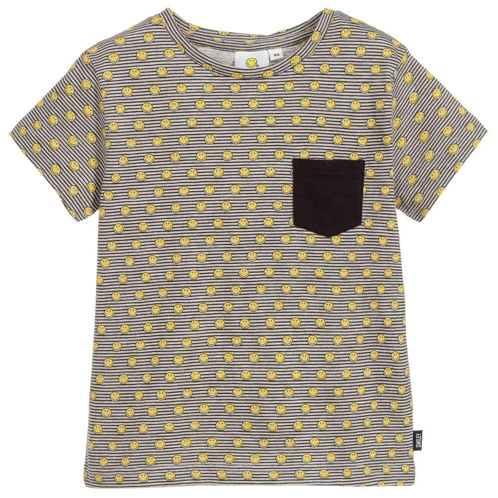 Smiley Originals - Boys Grey Striped Logo T-Shirt | Childrensalon