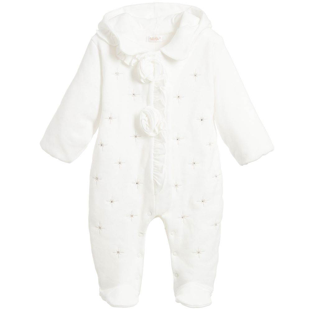 Sofija - Baby Girls Ivory Pramsuit | Childrensalon