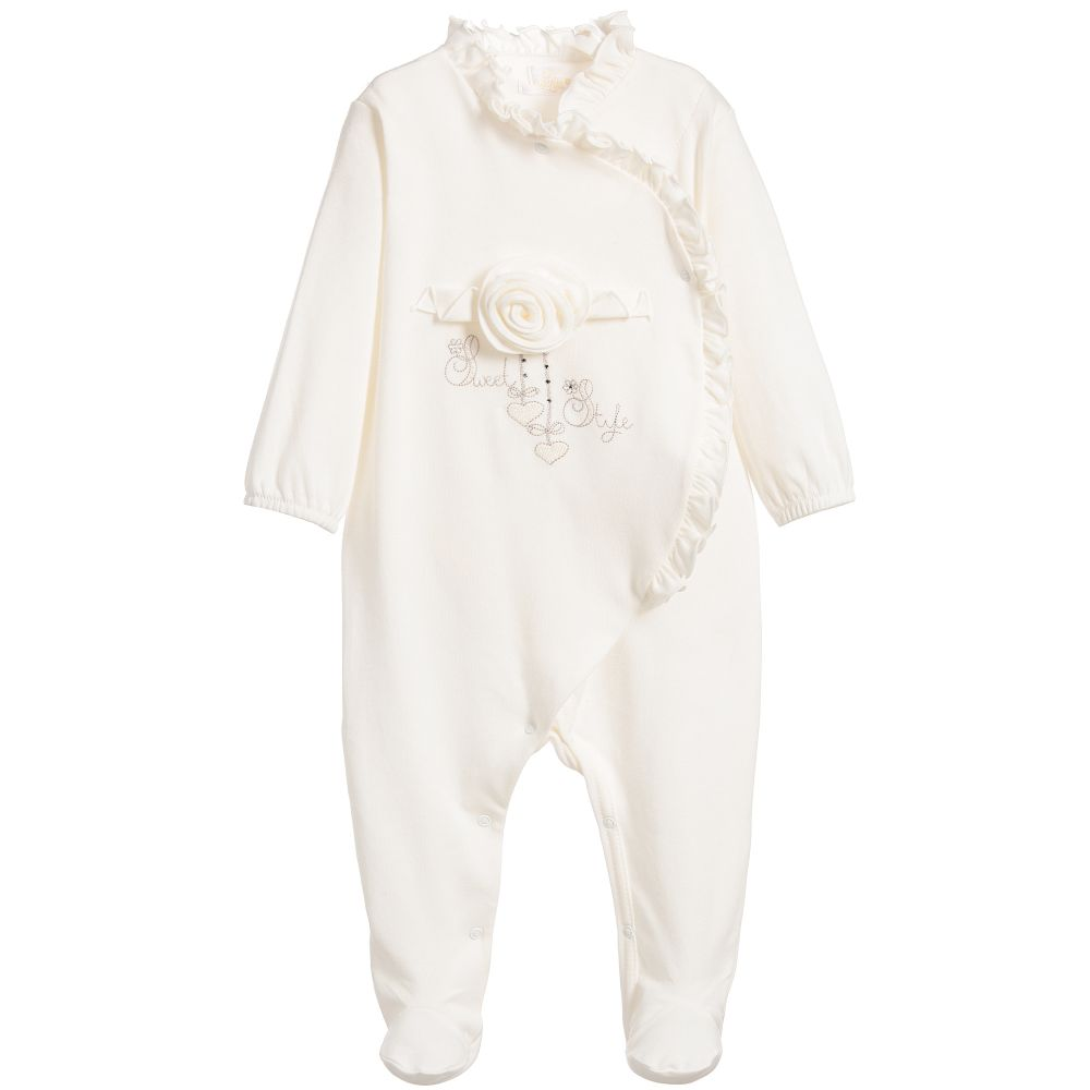 Sofija - Girls Ivory Cotton Babygrow | Childrensalon
