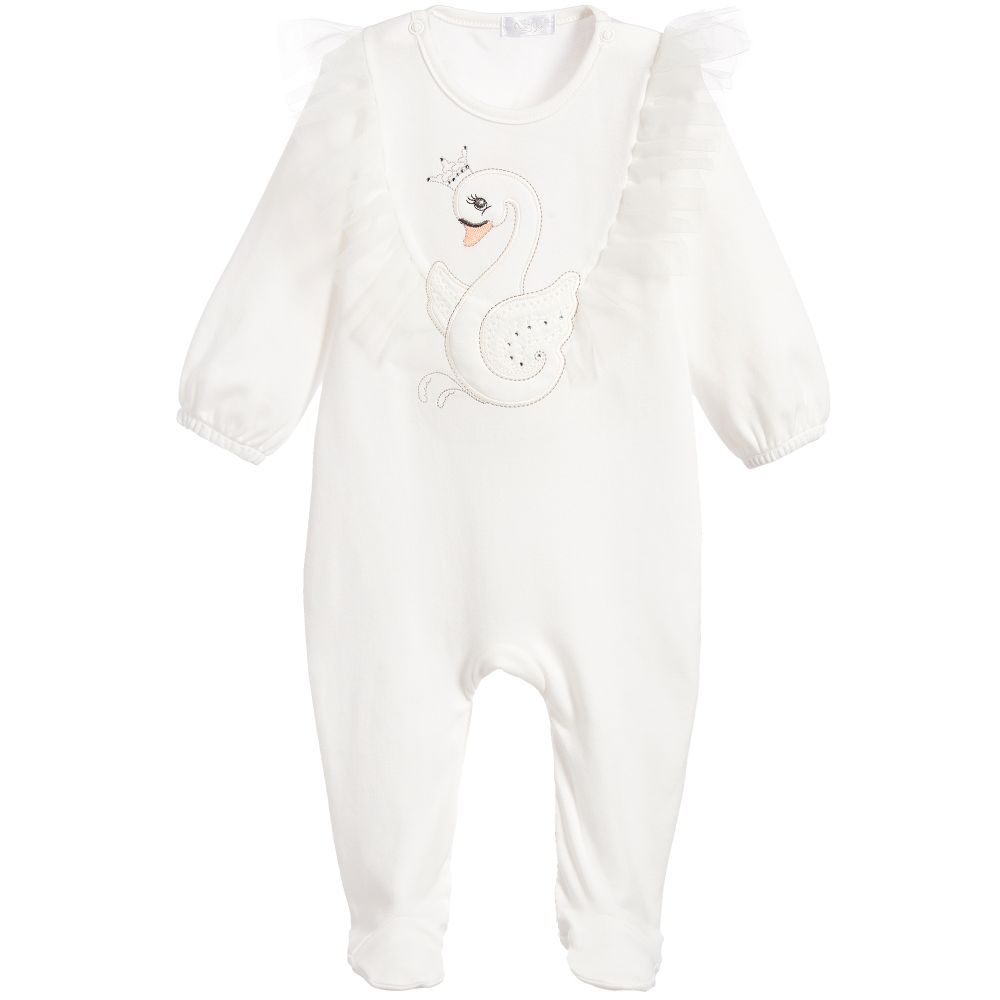 Sofija - Girls Tulle Swan Babygrow | Childrensalon