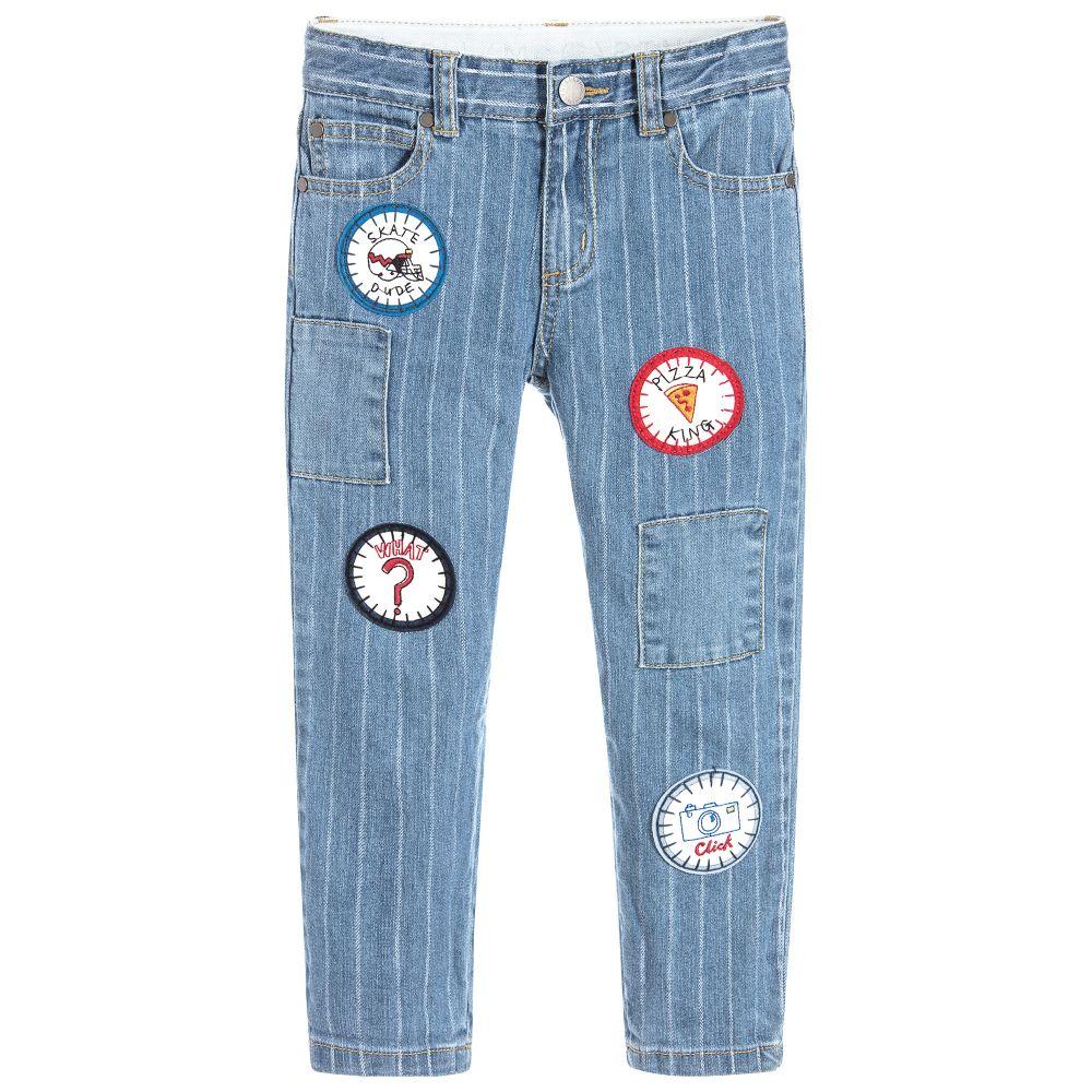 Stella McCartney Kids - Blue Striped Slim Leg Jeans | Childrensalon