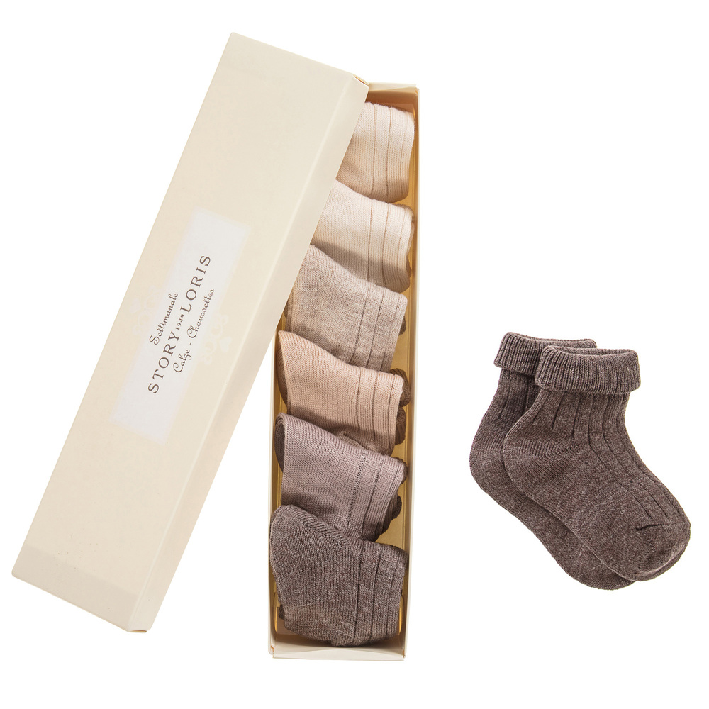 Story Loris - Baby Beige Socks Set (7 Pack) | Childrensalon