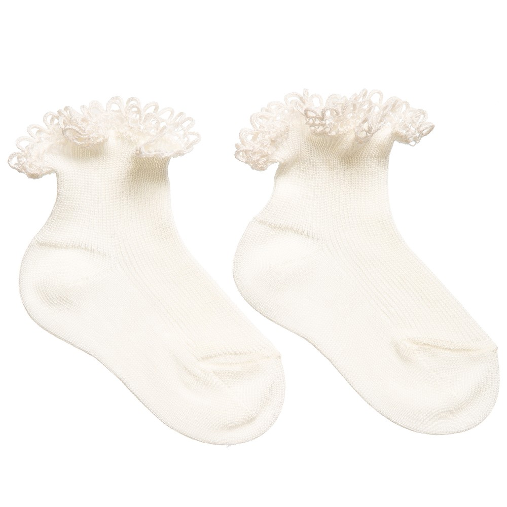 Story Loris - Baby Girls Ivory Cotton Socks with Lace Trims | Childrensalon