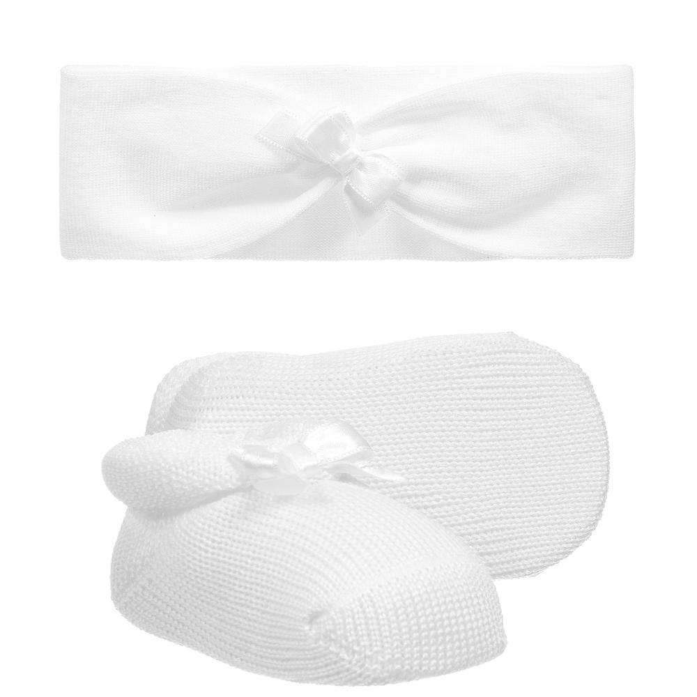 Story Loris - Baby Girls White Headband & Booties Gift Set | Childrensalon