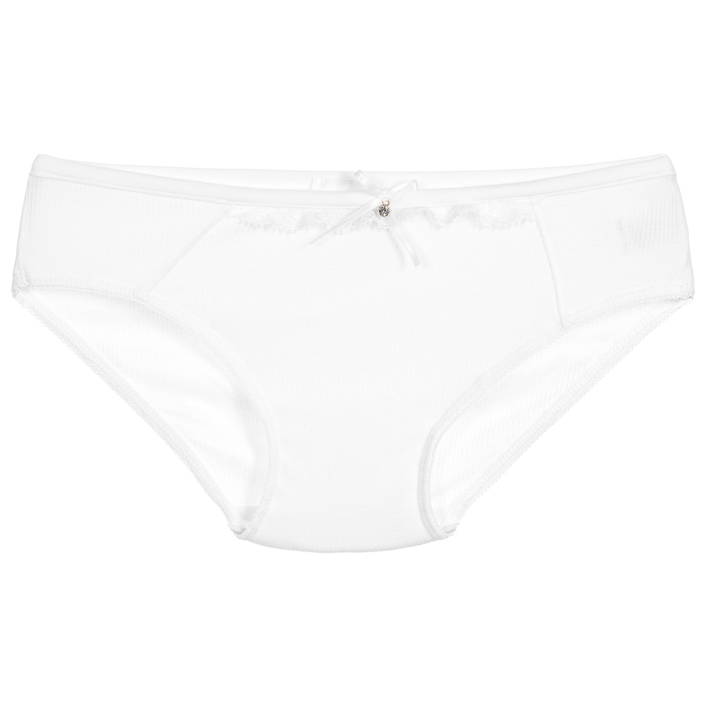 Story Loris - Girls White Modal & Lace Knickers | Childrensalon