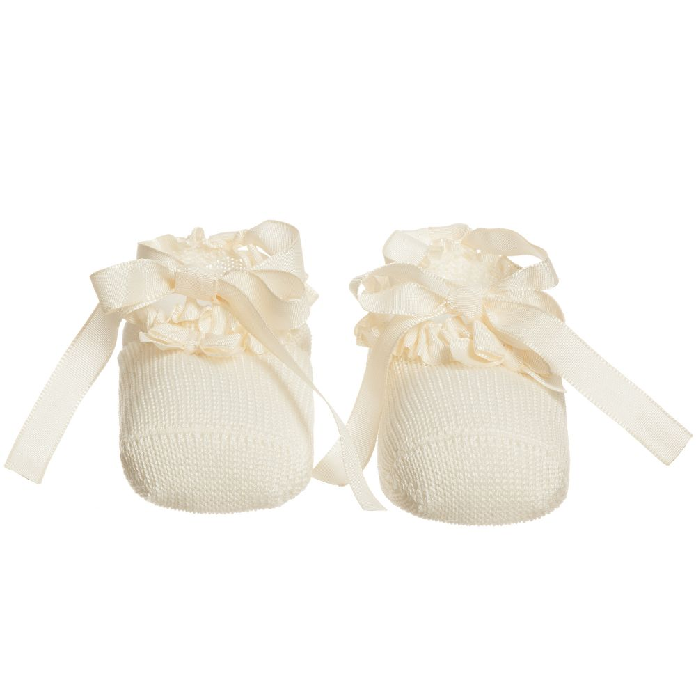 a66fb492e62 Story Loris - Ivory Cotton Booties with Ribbon