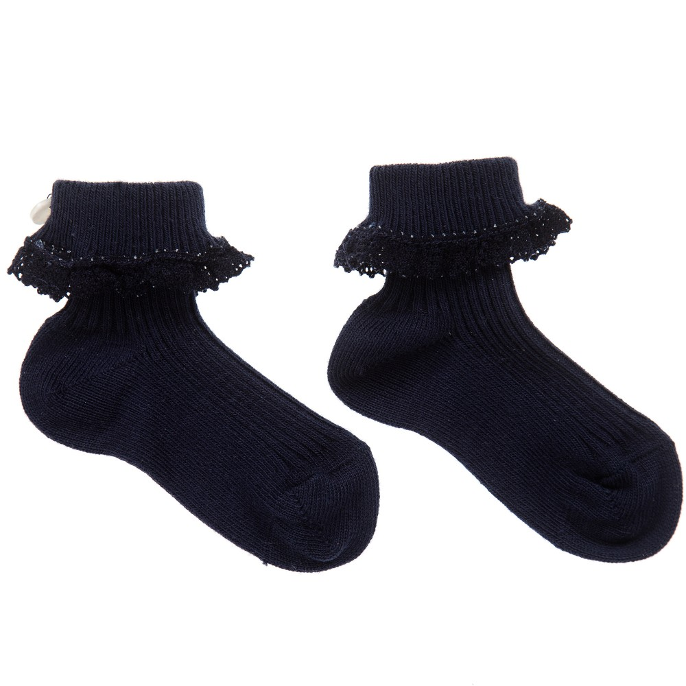 Tartine et Chocolat - Girls Blue Cotton Lace Trim Socks | Childrensalon
