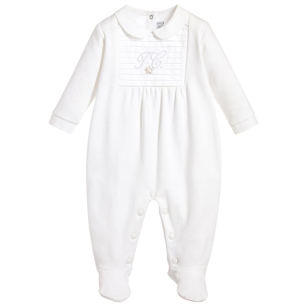 Tartine et Chocolat - White Cotton Jersey Babygrow  | Childrensalon