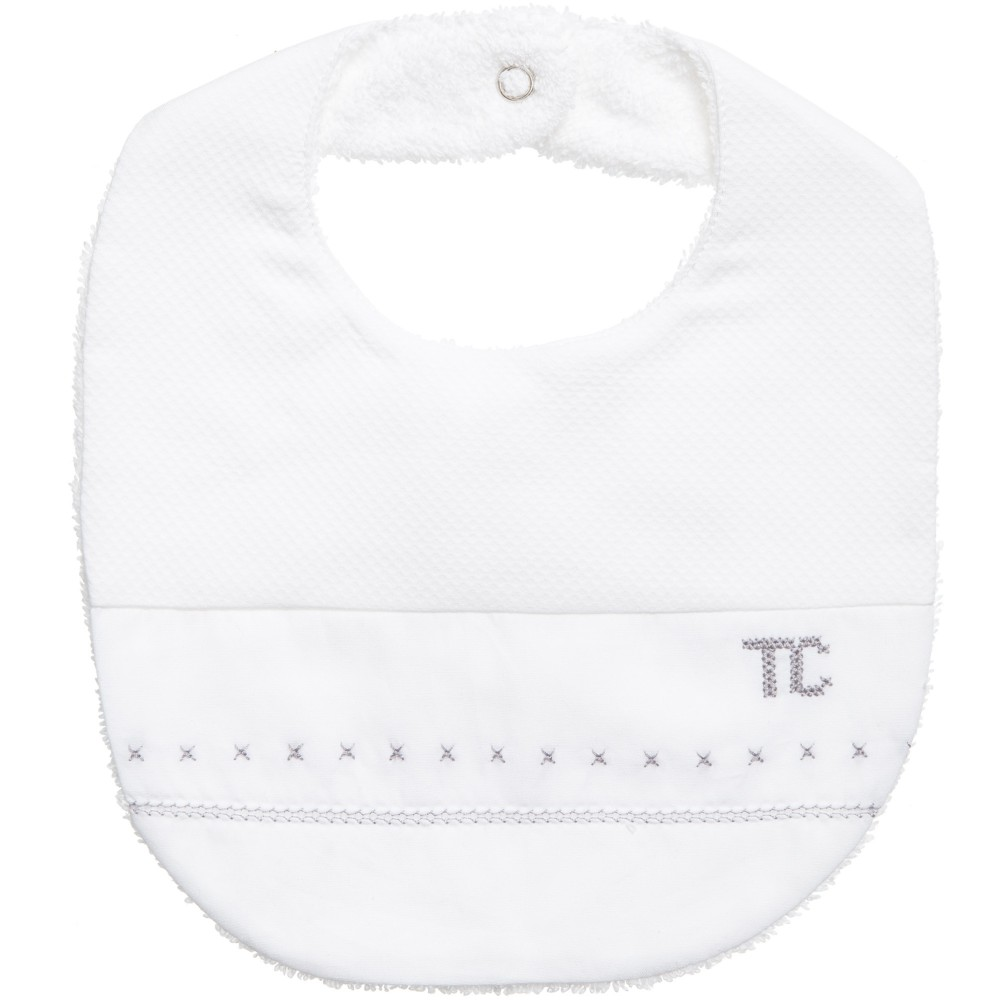 Tartine et Chocolat - White Embroidered Baby Bib | Childrensalon