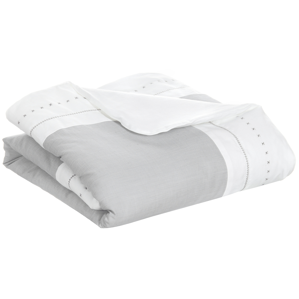 Tartine et Chocolat - White & Grey Padded Baby Blanket (80cm) | Childrensalon