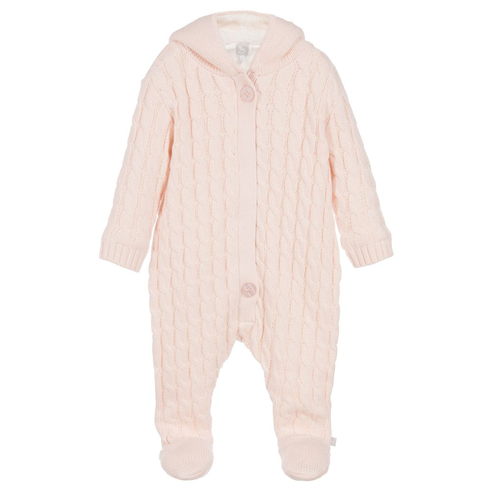 The Little Tailor - Baby Girls Knitted Pramsuit | Childrensalon