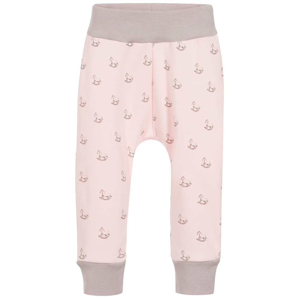 The Little Tailor - Baby Girls Pink Jersey Rocking Horse Trousers | Childrensalon